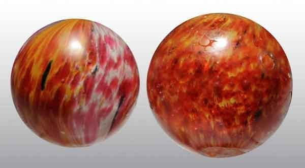 1208: Lot of 2: Large Onionskin Marbles.