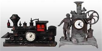 1474: Lot of 2: Steam Engine Clocks.
