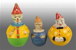 1807 Lot of 3 Paper Mache Clown RolyPoly Toys