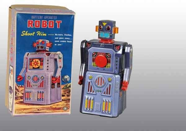 1887A: Gang of 5 Target Robot Battery-Operated Toy.