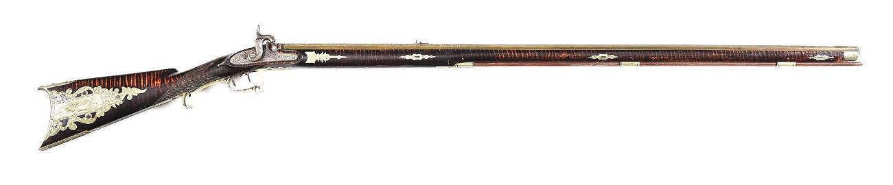 (A) BEAUTIFULLY DECORATED ARTISTIC KENTUCKY RIFLE BY