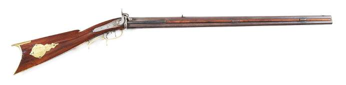 (A) FINE DOUBLE BARREL PERCUSSION KENTUCKY RIFLE SIGNED