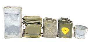 LOT OF 5: USMC WATER CANS, BUCKET, AND COOLER.