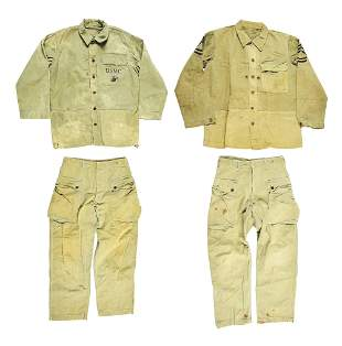 LOT OF 4: WWII USMC P44 JACKETS AND TROUSERS.
