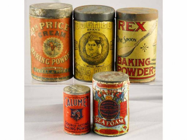 6: Lot of 5: Baking Powder Containers.