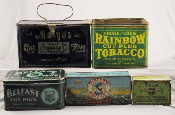 7: Lot of 6: Tobacco Tins.