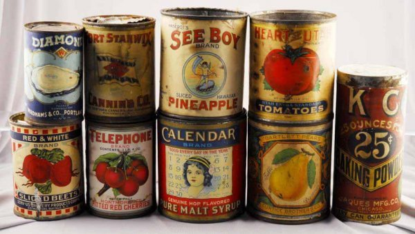 9: Lot of 8: Early Assorted Food Product Tins.