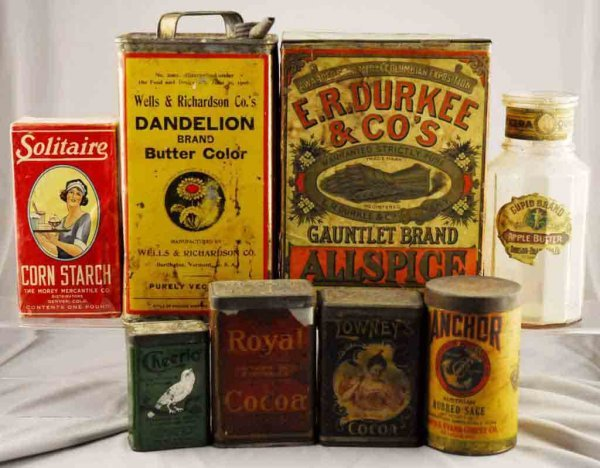 10: Lot of 8: Assorted Food Product Containers.
