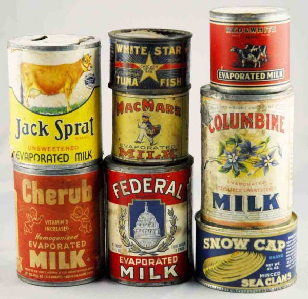 11: Lot of 8: Milk-Related Advertising Tins.
