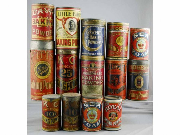 13: Lot of 14: Assorted Baking Powder Tins.
