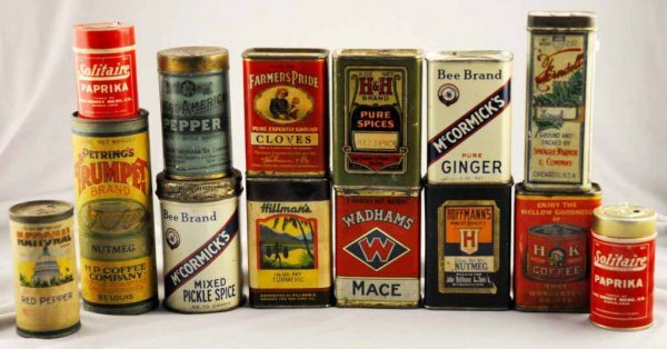 16: Lot of 14: Spice Tins.