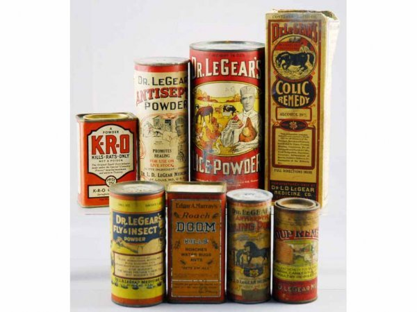 19: Lot of 8: Medicinal & Veterinarian Containers.
