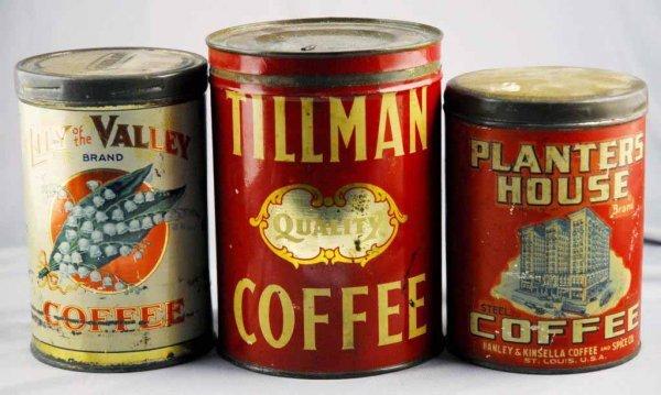 20: Lot of 3: Coffee Tins.