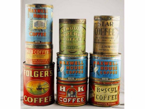 21: Lot of 9: Coffee Tins.