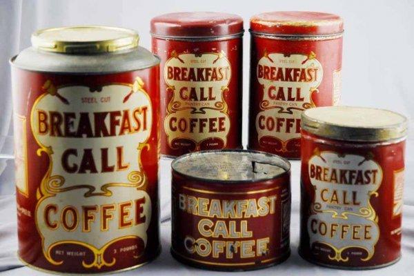 22: Lot of 5: Breakfast Call Coffee Tins.