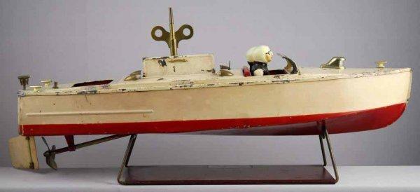 464: Vintage Lionel Tin Wind-Up Motor Boat Toy.