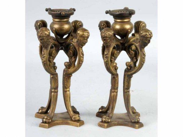 2: Pair of Bronze Tiffany Candlesticks.