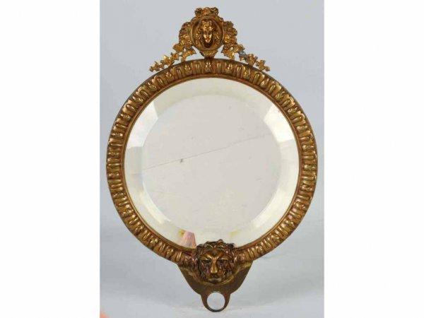 3: Brass Mirror with Art Nouveau Lady & Lion.