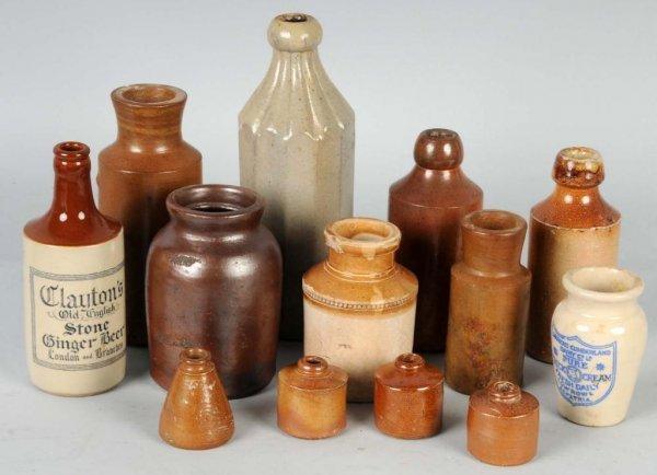 6: Lot of 13: Stoneware Bottles.