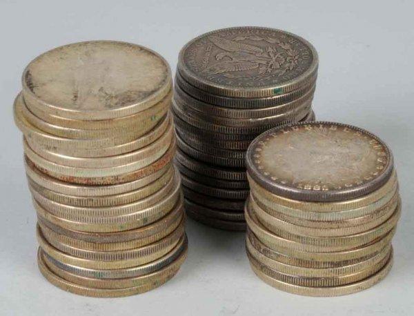 10: Lot of 48: Peace & Morgan Silver Dollars.