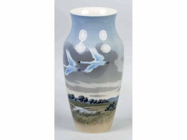 19: Royal Copenhagen Vase with Snow Geese.