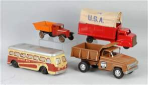 247 Lot of 4 Pressed Steel Vehicle Toys