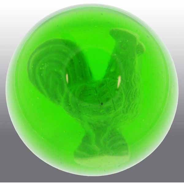 13: Green Glass Rooster Sulfide Marble.