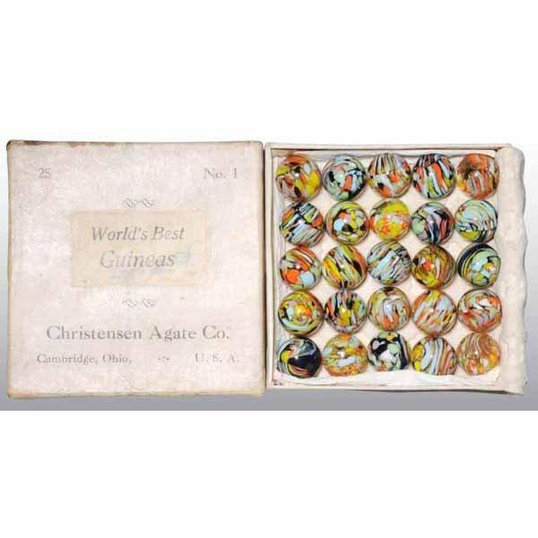 63: Original Box of World's Best Guineas Marbles.