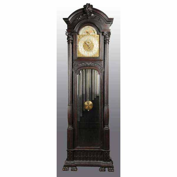 574: Oak Tall Case clock with Moon Dial.