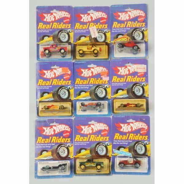 1770: Lot of 9: Mattel Hot Wheels Real Riders Toy Cars.