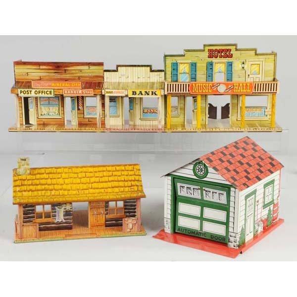 13: Lot of 3: Tin Litho Marx Buildings.