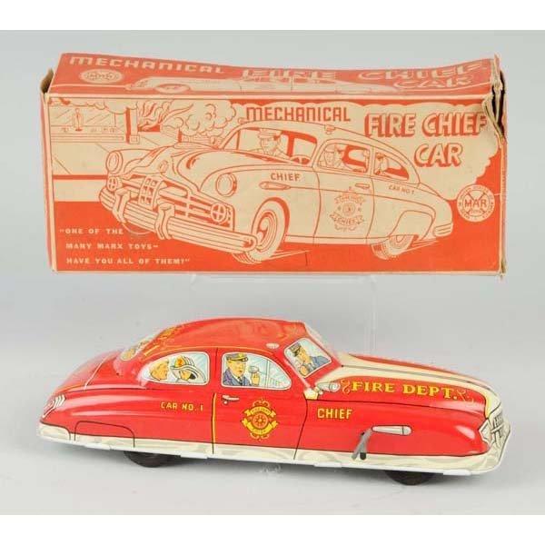 16: Tin Marx Fire Chief Wind-Up Car.