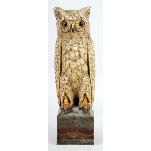 325: Cast Iron Owl on Pedestal Doorstop.