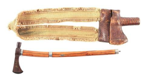 FINE HISTORIC INLAID PIPE TOMAHAWK BELONGING TO SIR