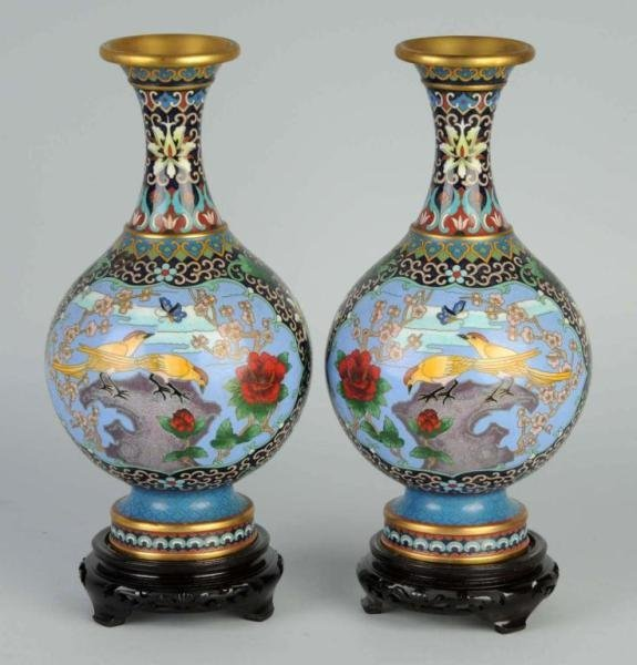 1: Pair of Cloisonne Oriental Vases.