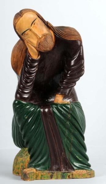 2: Carved Wooden Folk Art Jesus Sculpture.
