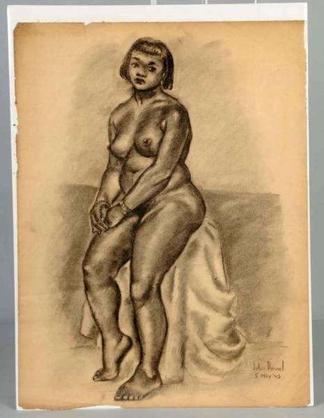 3: Nude African American Woman Charcoal Drawing.