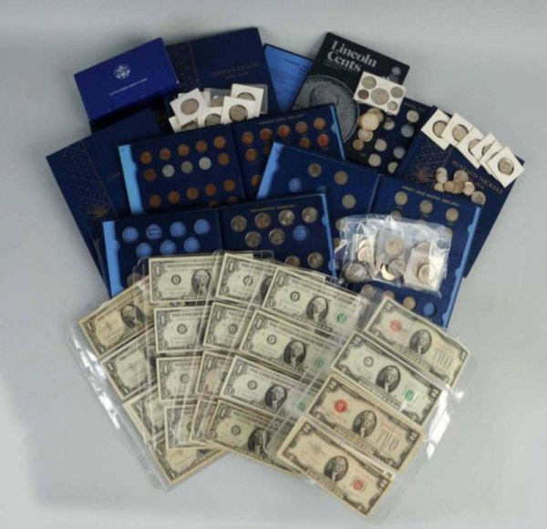 15: Large Lot of American Coins & Paper.