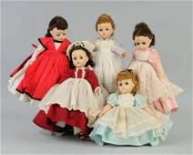 320: Set of 5 Madame Alexander Little Women Dolls.