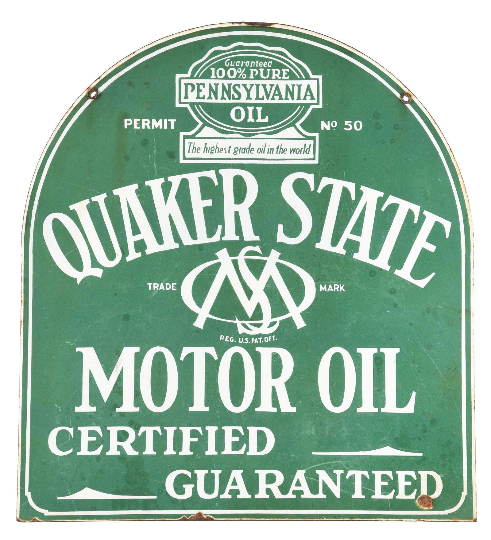 QUAKER STATE MOTOR OIL PORCELAIN TOMBSTONE SERVICE