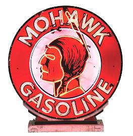 OUTSTANDING & RARE MOHAWK GASOLINE PORCELAIN NEON