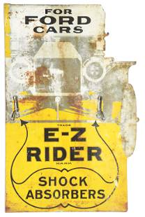 RARE E-Z RIDER SHOCK ABSORBERS DIE CUT TIN FLANGE SIGN
