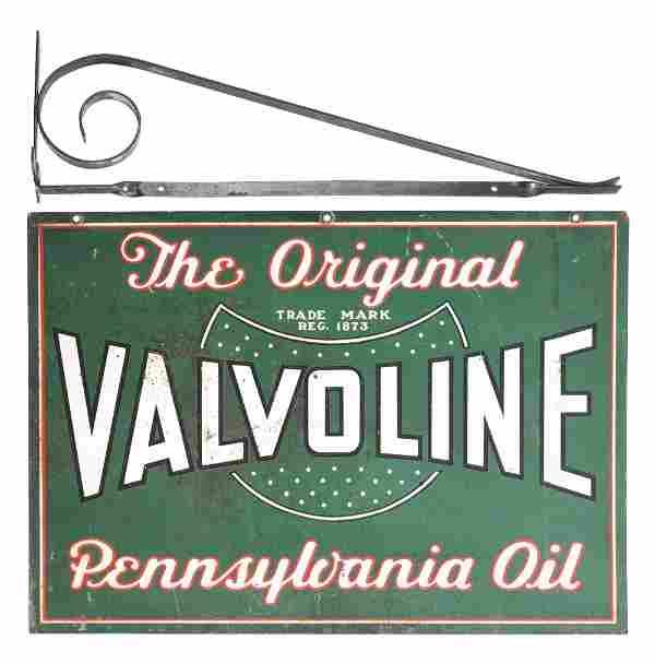 VALVOLINE MOTOR OIL TIN SERVICE STATION SIGN W/ METAL
