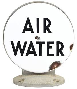 AIR & WATER PORCELAIN FACE AIR METER GLOBE W/ METAL