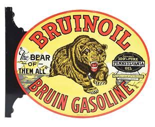 RARE & OUTSTANDING BRUINOIL & BRUIN GASOLINE DIE CUT