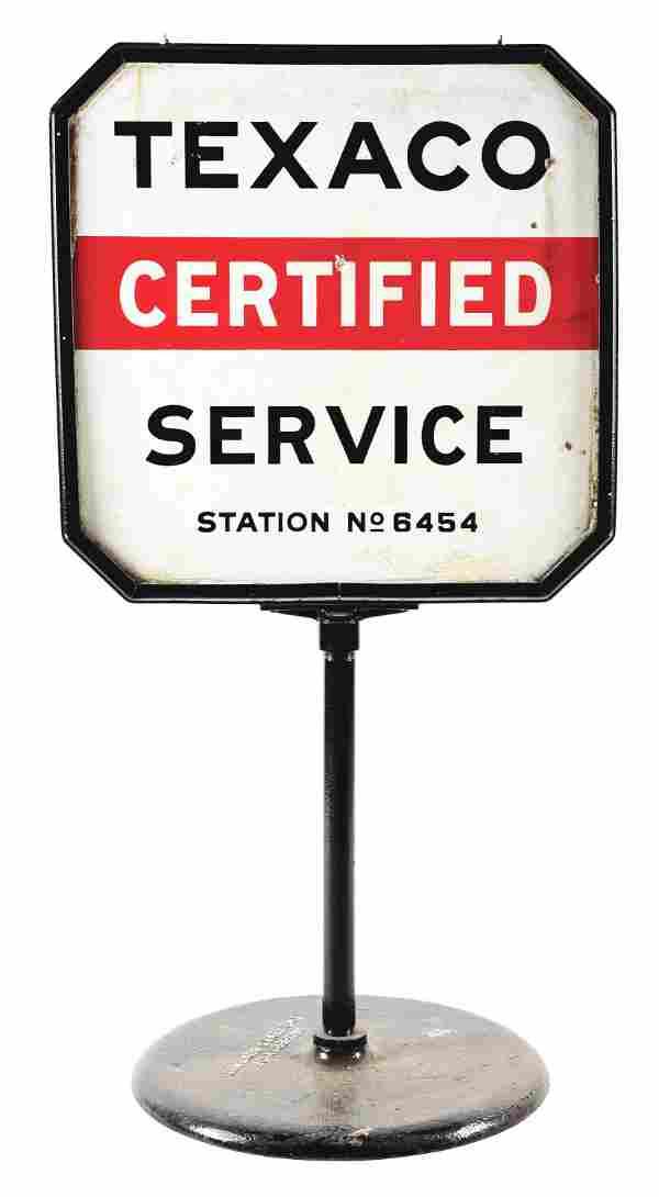 TEXACO CERTIFIED SERVICE PORCELAIN LOLLIPOP SIGN W/
