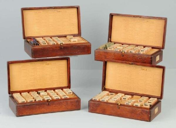 21: Lot of 4: Wooden Dental Boxes.
