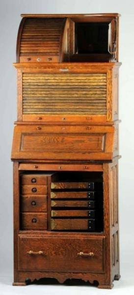 51: Large Oak Dental Cabinet by Harvard circa 1880