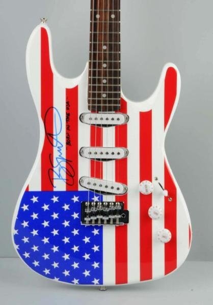 82: American Flag Bruce Springsteen Guitar with COA. - 2