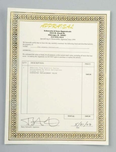 82: American Flag Bruce Springsteen Guitar with COA. - 3